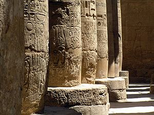 Sacred architecture - The interior of the ancient Egyptian Karnak Temple.