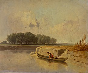 Landscape with a River and a Boat in the Foreground