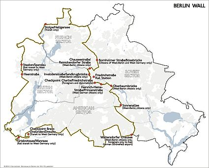 Position and course of the Berlin Wall and its border control checkpoints (1989)