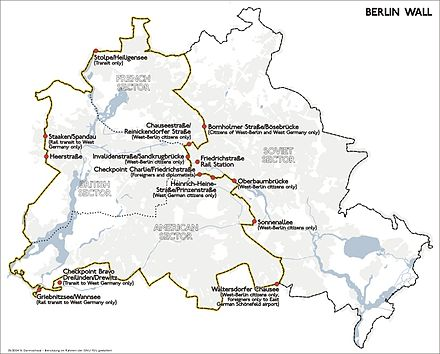 Position and course of the Berlin Wall and its border control checkpoints (1989). Karte berliner mauer en.jpg