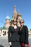 Kate Rubins and Peggy Whitson in front of St. Basil's Cathedral in Moscow.jpg