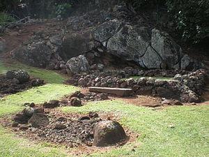 Wailua River State Park - Image: Kauai Wailua Heiau Holoholoku pohakuhanau