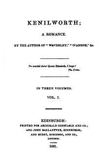 <i>Kenilworth</i> (novel) novel by Walter Scott