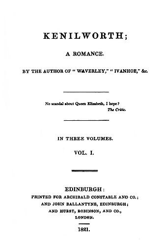 Kenilworth (novel) - First edition title page.