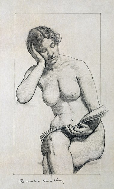 "Kenyon Cox, 1896: Studio in grafite di nudo ""Romance - Nude Study"" per il dipinto ""The Arts"", Southwest Gallery della Library of Congress, Jefferson Building, USA"