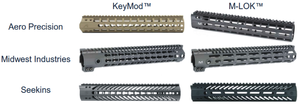 Rail Integration System - KeyMod and M-LOK handguards from various manufacturers. The tops of these handguards feature Picatinny rails. These handguards were used in a KeyMod™ vs. M-LOK™ Modular Rail System comparison in 2017 by the US Naval Surface Warfare Center Crane Division