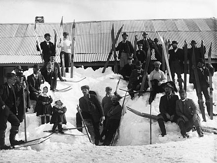 A photograph by Charles Kerry of skiers from the 1900 Kiandra Snow Shoe Carnival. Kiandra, NSW, is where skiing began in Australia in 1861. Kiandra carnival 1900 Charles Kerry.jpeg