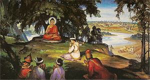 Bimbisara - King Bimbisara, depicted in Burmese art, offering his kingdom to the Buddha.