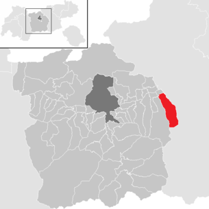 Location of the municipality of Kolsassberg in the Innsbruck-Land district (clickable map)