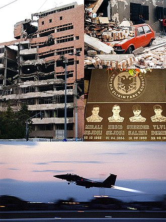 Kosovo War - Clockwise from top-left: Yugoslav general staff headquarters damaged by NATO air strikes; a Yugo buried under rubble caused by NATO air strikes; memorial to local KLA commanders; a USAF F-15E taking off from Aviano Air Base
