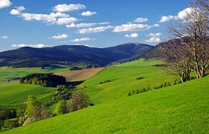 Moravia - Rolling hills of Králický Sněžník from Horní Morava, left Bohemian border