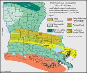 Haynesville Shale - Map showing distribution of Haynesville Shale and other Unconventional Hydrocarbon Plays within Louisiana