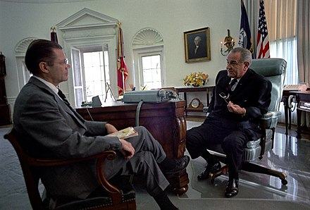 Johnson talking with his Secretary of Defense Robert McNamara, 1967 LBJ-and-McNamara.jpg