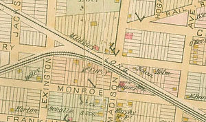 Flushing and North Side Railroad - 1891 map of Winfield Junction