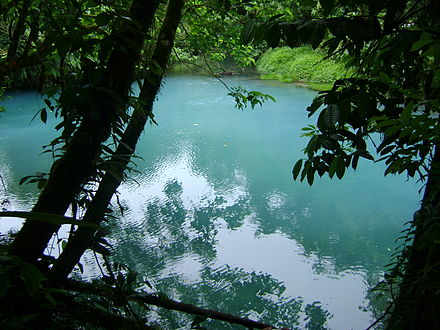 Celeste River, located at Tenorio Volcano National Park, is among the most popular destinations by both foreign and domestic tourists. Laguna azul, Rio Celeste, Parq Tenorio.jpg
