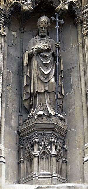 Lanfranc - Statue of Lanfranc from the exterior of Canterbury Cathedral