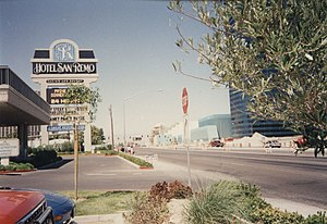Tropicana – Las Vegas Boulevard intersection - Looking west on Tropicana Avenue, east of the Las Vegas Boulevard intersection, in 1994 by what is now Hooters. Note the lack of elevated pedestrian walkways in the background.
