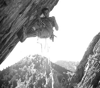 "Aid climbing - Layton Kor aids ""Exhibit A"" in Eldorado Canyon during first ascent in 1963"