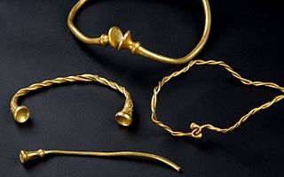 Archaeological find in Staffordshire, England, in 2016, comprising four iron age gold torcs