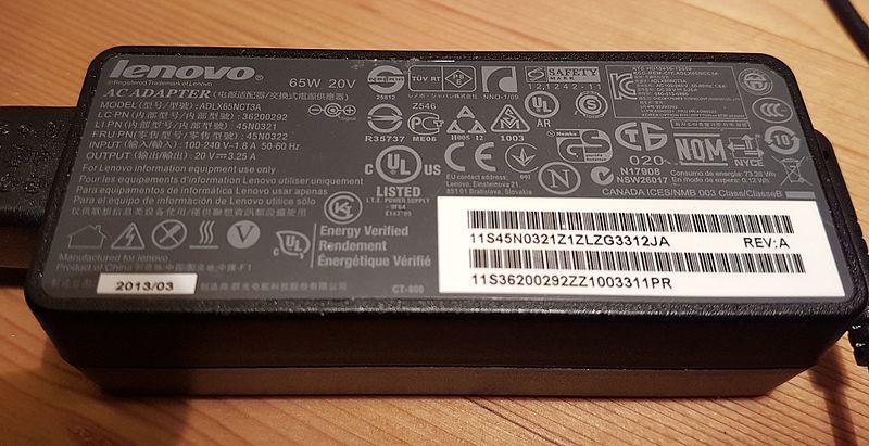 File:Lenovo Power Adapter AC 65W 20V.jpg