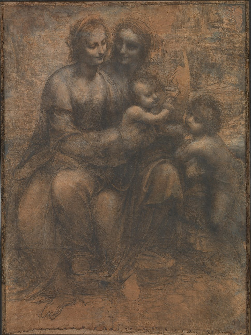 Leonardo da Vinci - Virgin and Child with Ss Anne and John the Baptist