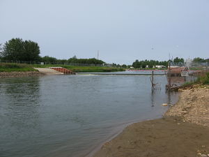 Lesser Slave River - The weir on the Lesser Slave River