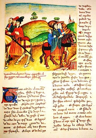 Medieval Spanish literature - Libro del caballero Zifar, f. 32r del manuscrito de París. «De cómmo una leona llevó a Garfín, el fijo mayor del cavallero Zifar».