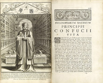 Confucius, Philosopher of the Chinese, published by Jesuit missionaries at Paris in 1687. LifeAndWorksOfConfucius1687.jpg