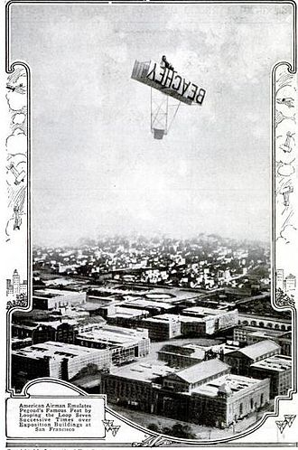 Lincoln Beachey - Lincoln Beachey flying a loop over the San Francisco Exposition