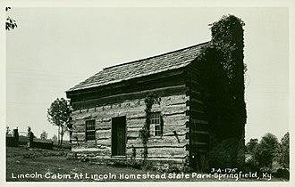 Lincoln Homestead State Park - Vintage postcard of Lincoln Cabin at Lincoln Homestead State Park