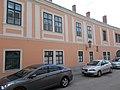 Listed baroque house ID 3840. Medieval house facade remains (right on wrought iron street lantern). - 10, Jókai Street, Downton, Székesfehérvár, Fejér County, Hungary.JPG