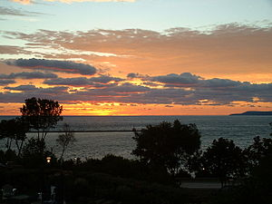 Geography of Michigan - Little Traverse Bay at sunset, viewed from Petoskey