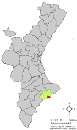 Benidorm Location in Valencia