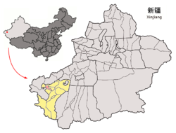 Location of Shule County (red) within Kashgar Prefecture (yellow) and Xinjiang