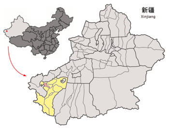 Location of Shule within Xinjiang (China).png