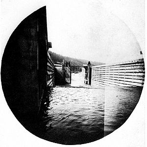Frank P. Armstrong - Completed lock at the Baillie-Grohman Canal, ca 1889.  Armstrong deliberately destroyed these lock gates in making the transit of ''North Star'' through the canal in 1902.