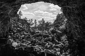 El Malpais National Monument - Looking out of Giant Ice Cave in the Big Tube area