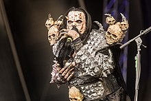 Mr Lordi on stage during a Lordi concert in 2019.