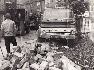 Hayfield - Before the building of the relief road, this lorry narrowly missed the parish church during an accident in 1974.