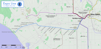 Expo Line (Los Angeles Metro) - Route and stations of the Expo Line, relative to other Metro lines. Under construction or planned segment are shown as dashed lines.