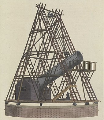 The 40-foot (12 m) telescope Lossy-page1-3705px-Herschel's Grand Forty feet Reflecting Telescopes RMG F8607 (cropped).jpg