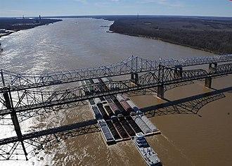 Lower Mississippi River - 35 barges passing under the Vicksburg Bridge by Vicksburg, Miss.