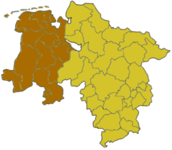 Map of Lower Saxony highlighting the former Regierungsbezirk of Weser-Ems