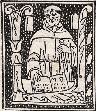Luca Pacioli - A woodcut of Pacioli which appears throughout the Summa de arithmetica