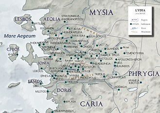 Lydians - Lydia circa 50 AD, with the main settlements and Greek colonies.