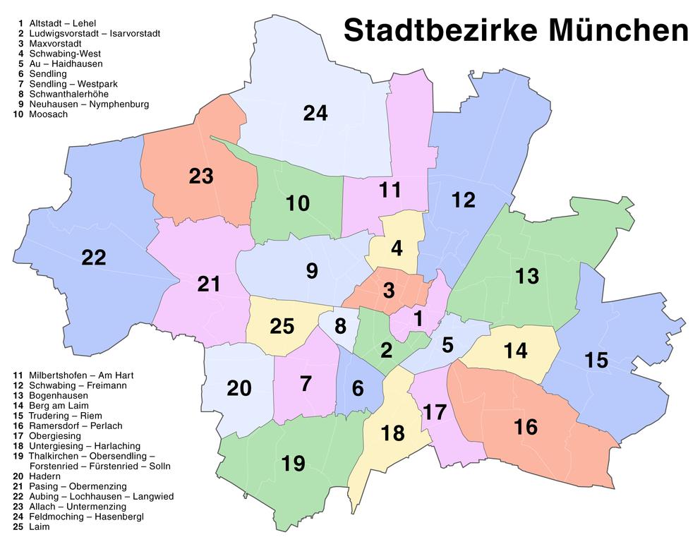 Схема районов Мюнхена -