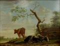 M.F.Reeder Koeien in weide aan de dorpsrand rechtsonder get. en gedateerd 1823.png