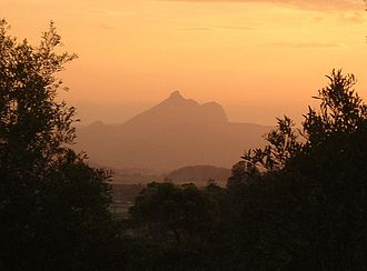 Bundjalung people - Wollumbin is the mountain range to the north of Mt Warning, his face and form can be seen in the ranges profile, when viewed from the north, near Chinderah