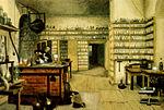 Michael Faraday (1791–1867), mõjuka inglise füüsiku ja keemiku laboratoorium.