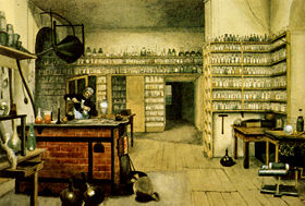 Michael Faraday, 19th century physicist and chemist, in his lab.